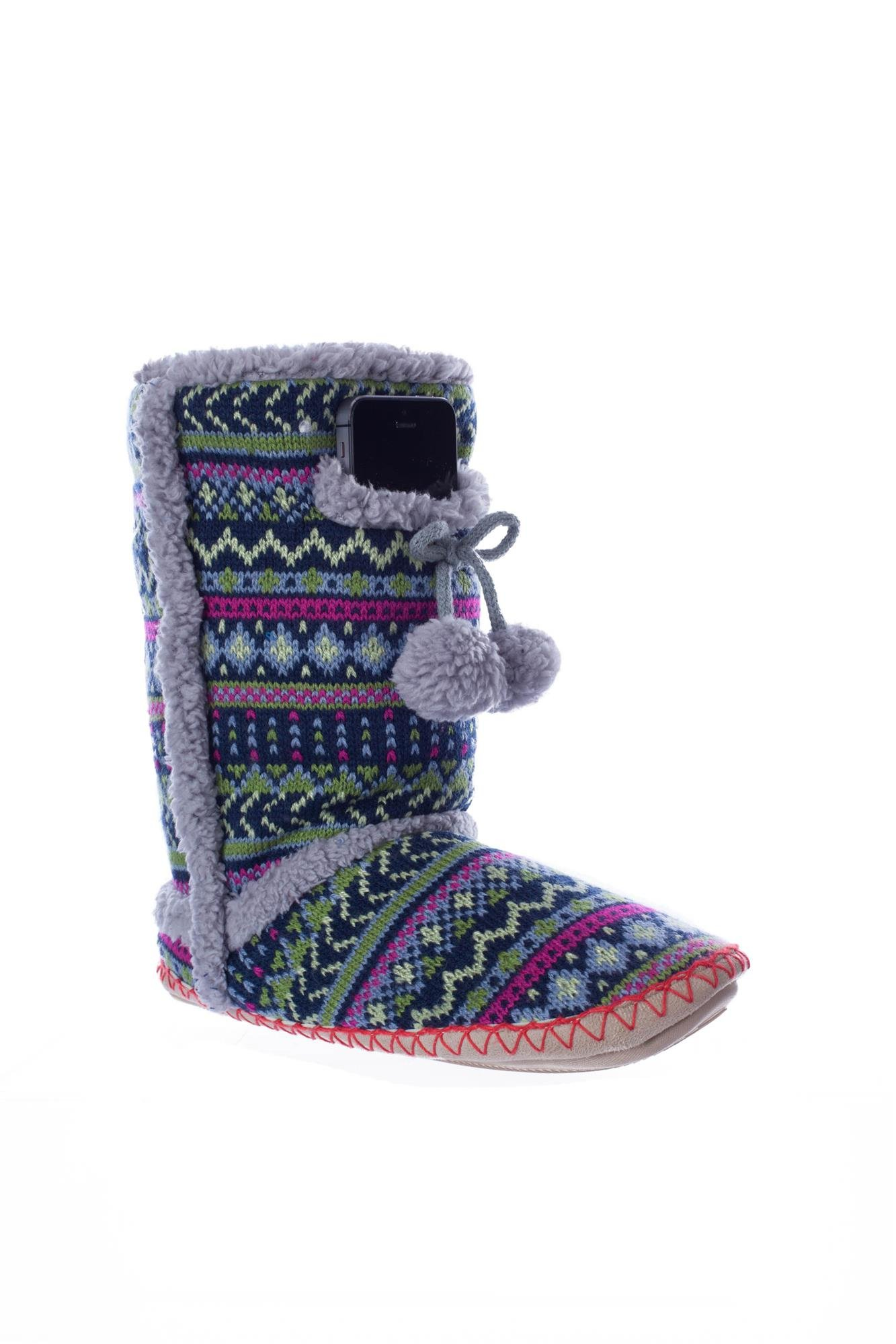 Navajo Lime Print Indoor/Outdoor Size Medium Fuzzy Boot with Phone Pocket