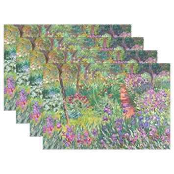 Amazon Com Wihve Placemats Set Of 4 Iris Garden At Giverny Monet
