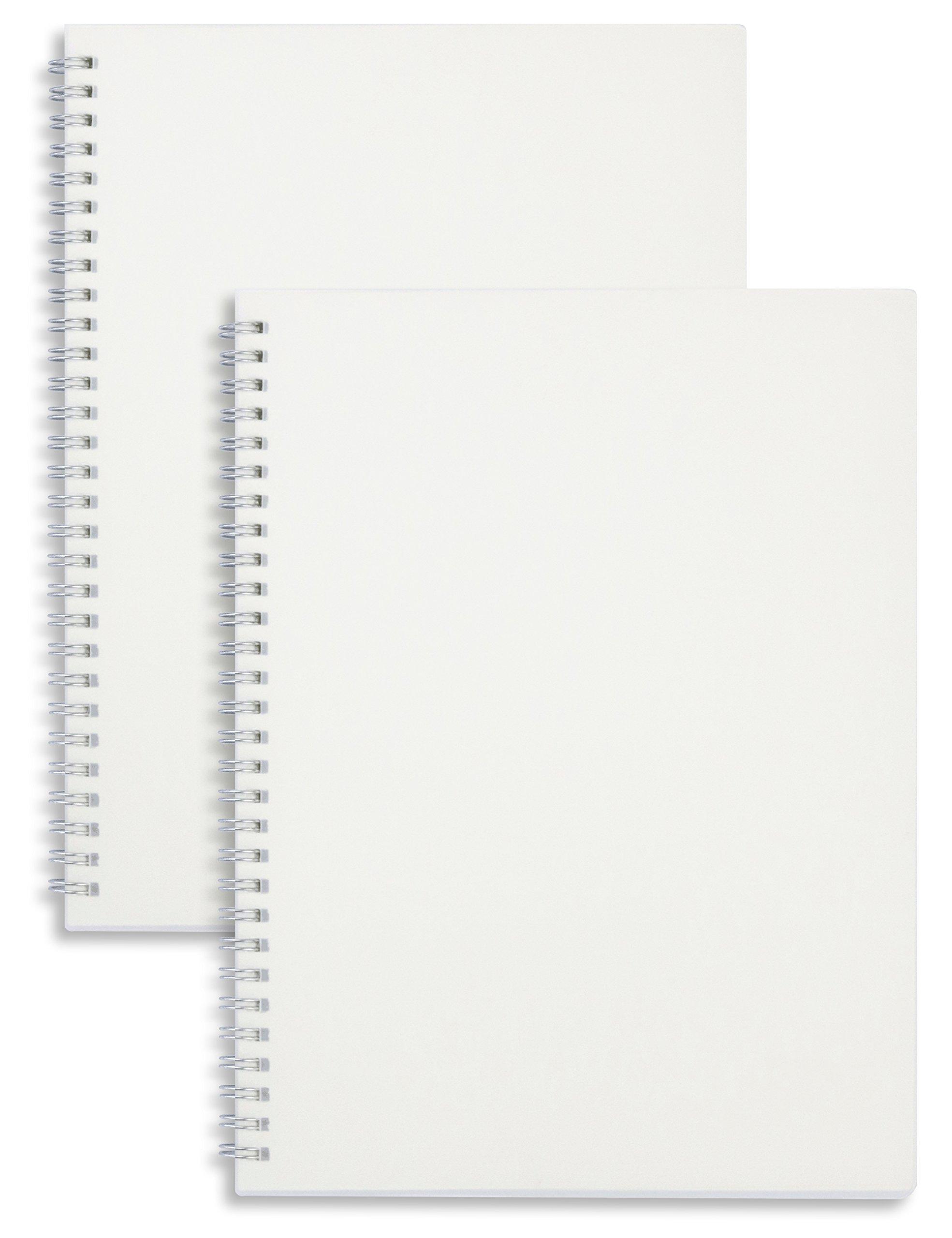 Miliko Transparent Hardcover B5 Blank Wirebound/Spiral Notebook/Journal Set-2 Per Pack, 7.1''x10''(Blank)