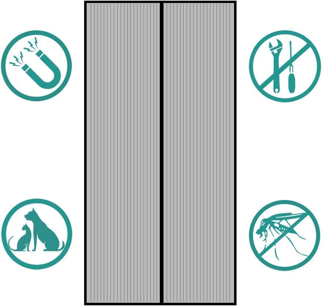 porte Cave Noir Kit dinstallation Complet Porte de Terrasse Sekey 220 x 100cm Moustiquaire pour Portes Montage Facile /à Coller Avanc/ée Rideau Magn/étique Anti-insectes pour Porte de Balcon
