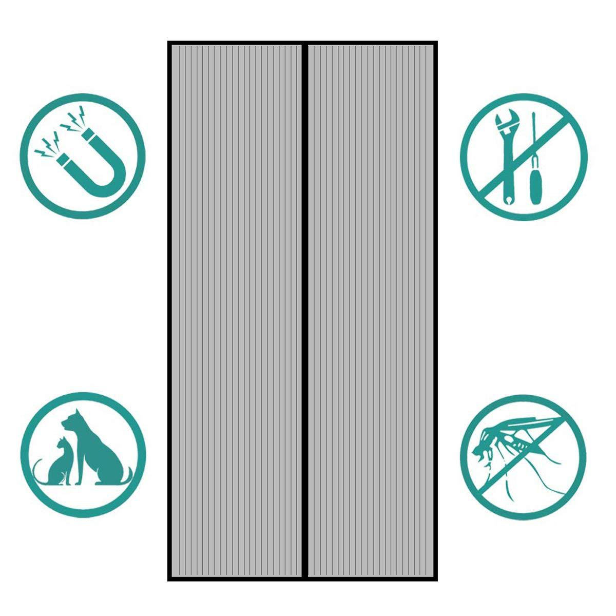 Avanc/ée Rideau Magn/étique Anti-insectes pour Porte de Balcon Kit dinstallation Complet Porte de Terrasse porte Cave Noir Montage Facile /à Coller Sekey 220 x 110cm Moustiquaire pour Portes