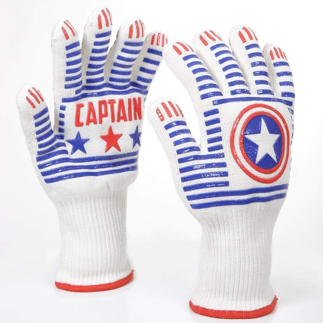Leose Captain BBQ Gloves Extreme Heat Resistant - Fireplace Accessories Captain America Shield - Great Oven Mitts & Forearm Protection