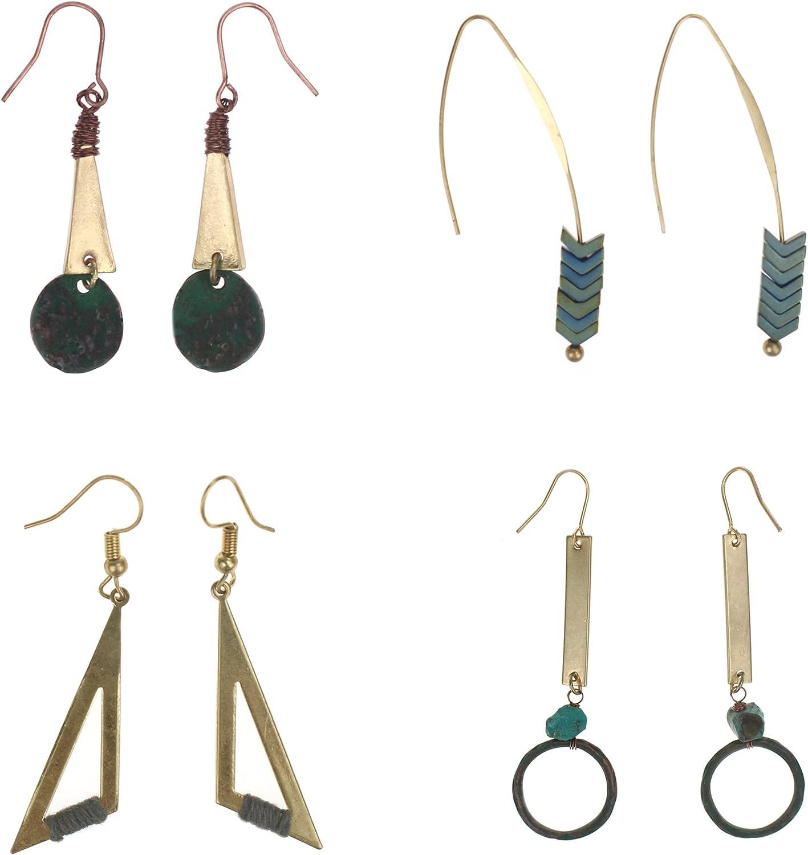 Udekit Borla de Moda de Lujo Colgante Pendiente Conjunto para Dama Mujer Niñas Primera Oro con Gema Verde (4 pares/set)