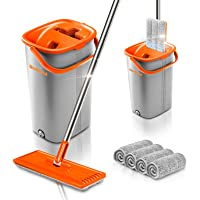 Worthland Flat Floor Mop and Bucket Set with Hands Free Squeeze Mop, Telescopic Stainless Steel Handle with 4 Washable…
