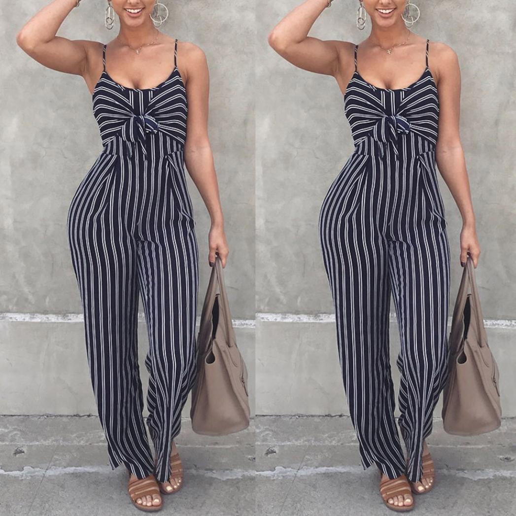 0582771ca99ff OverDose-Femme Combinaison Caraco Large à Rayures, Pantalon Slim Taille  Haute Trousers Sans Manches Agrandir l image