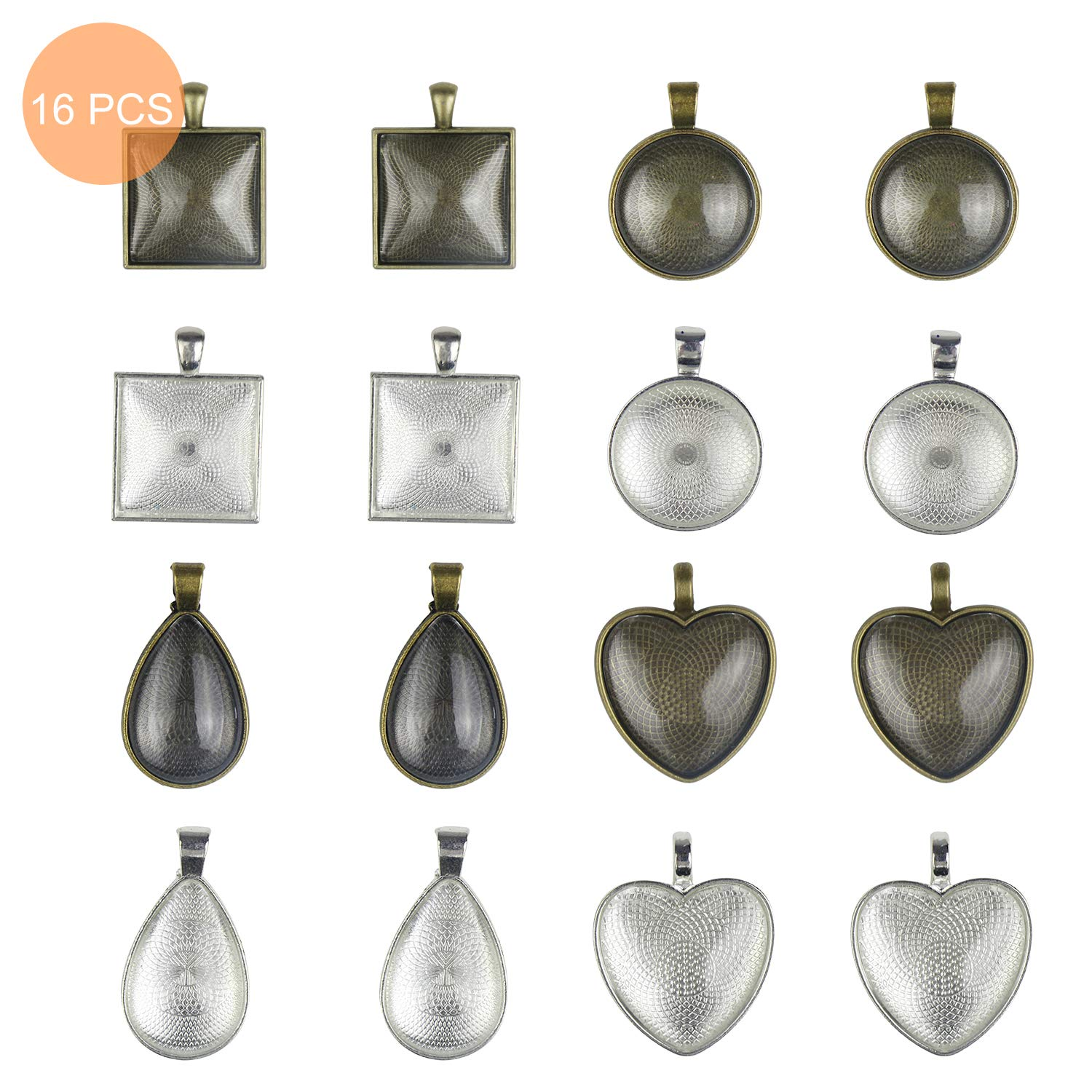 Pendant Blanks for Jewelry Making 33 Feet Necklace Jewelry Chain Crafting DIY 50pcs Jump Rings and 20pcs Lobster Clasps LETS RESIN 16pcs Pendant Trays with 16pcs Glass Cabochon Dome Tiles