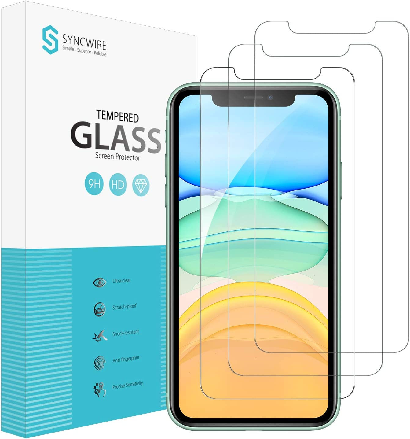 Syncwire Screen Protector for iPhone 11, iPhone XR (3-Pack), Anti-Fingerprint Tempered Glass Screen Protector (9H Hardness, 6X Stronger, Installation Frame, Bubble Free) [Not Edge to Edge]