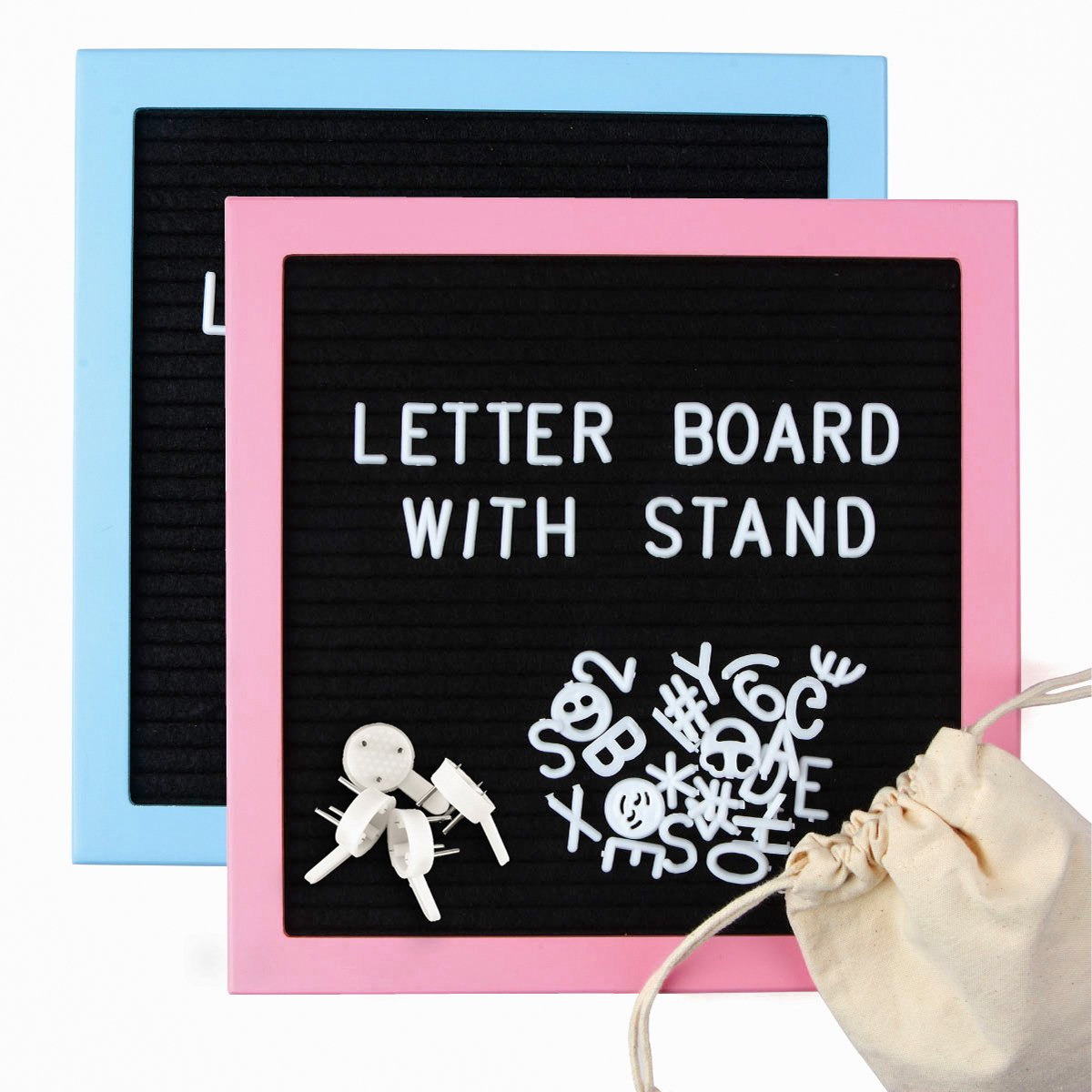 Felt Letter Boards with 680 Plastic Changeable Letters, Symbols, Numbers & Emojis in White, 10x10 Inch MFD Frame in Macaron Color, Picture Stand, Wall Mount & Drawstring Bag by PROHAPI(Blue & Pink)