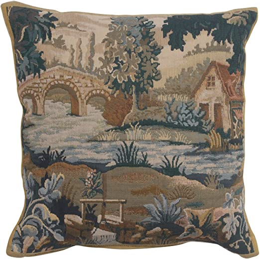 Amazon Com Charlotte Home Furnishings Inc Paysage Flamand Moulin 1 Authentic Jacquard Cotton Woven Gobelin Belgium Tapestry Pillow Cases 17 X17 In Home Decor Textured Throw Pillow Covers Home Kitchen