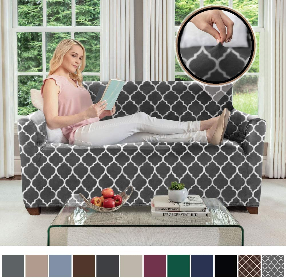 Gorilla Grip Original Velvet Fitted 1 Piece Loveseat Slipcover Stretch Up to 54 Inches Diamond Chocolate White Soft Velvety Couch Slip Cover Spandex Loveseats Furniture Protector with Fasteners