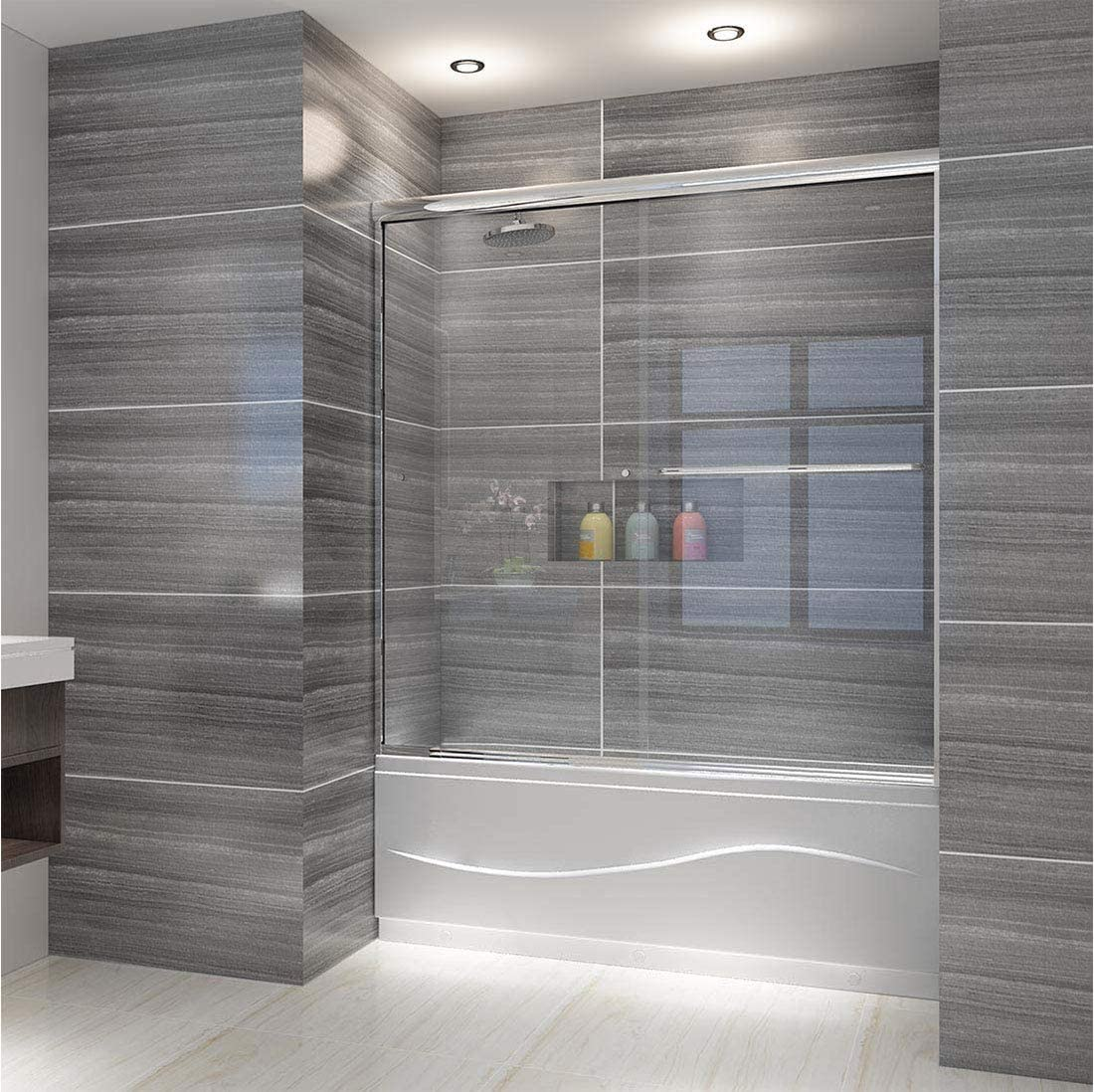 ELEGANT Bypass Double Sliding Tub Shower Door, 60 in. W x 62 in. H Bathtub Sliding Door, 1 4 inch Clear Glass Panel, 1.5 in. Width Adjustment, Chrome Finish