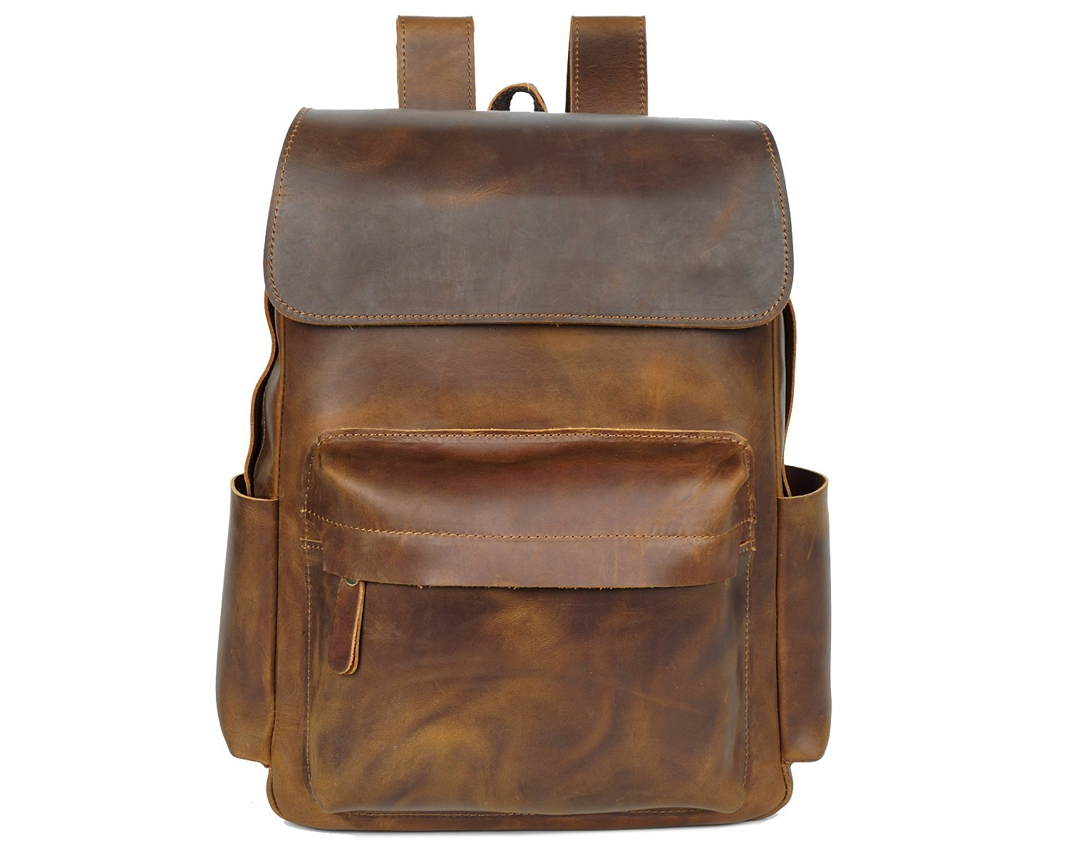 MUMUWU Men's Shoulder Bag Crazy Horseskin Retro Leather First Layer Leather Luggage Backpack Leather Bag for Business Travel (Color : Brass, Size : M)