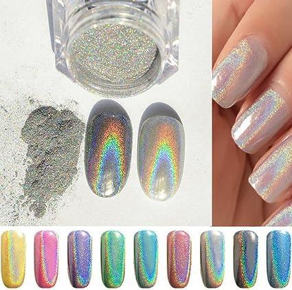 PhantomSky Uñas Glitter Brillo Espejo Cromo Clavo Polvo Manicura Pigmento - arco iris plata(Pack de 1g): Amazon.es: Belleza