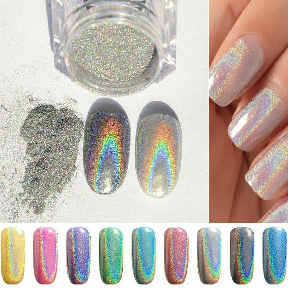 PhantomSky Nail Art Glitter Shining Magic Mirror Chrome Nail Powder ...
