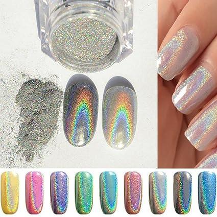 PhantomSky Unghie Scintillio Arte Glitter Brillante Magico Specchio Cromo  Polvere di Chiodo Manicure Pigmento , Arcobaleno Argento(Confezione da 1g)