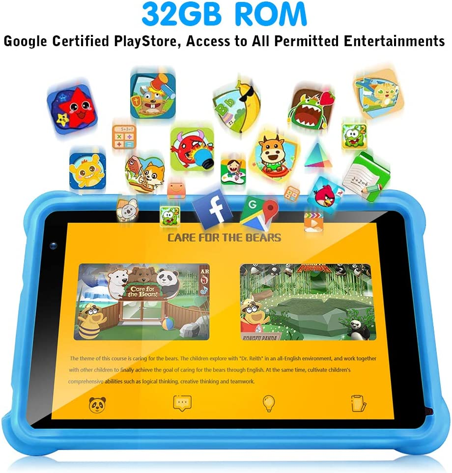 QunyiCO 7 Inch Kids Tablet 32GB Android 10.0 WiFi Camera Bluetooth 2GB RAM HD Touch Screen 1024x600 Kid-Proof Case Parental Control Learning App On Google Certified Playstore Blue