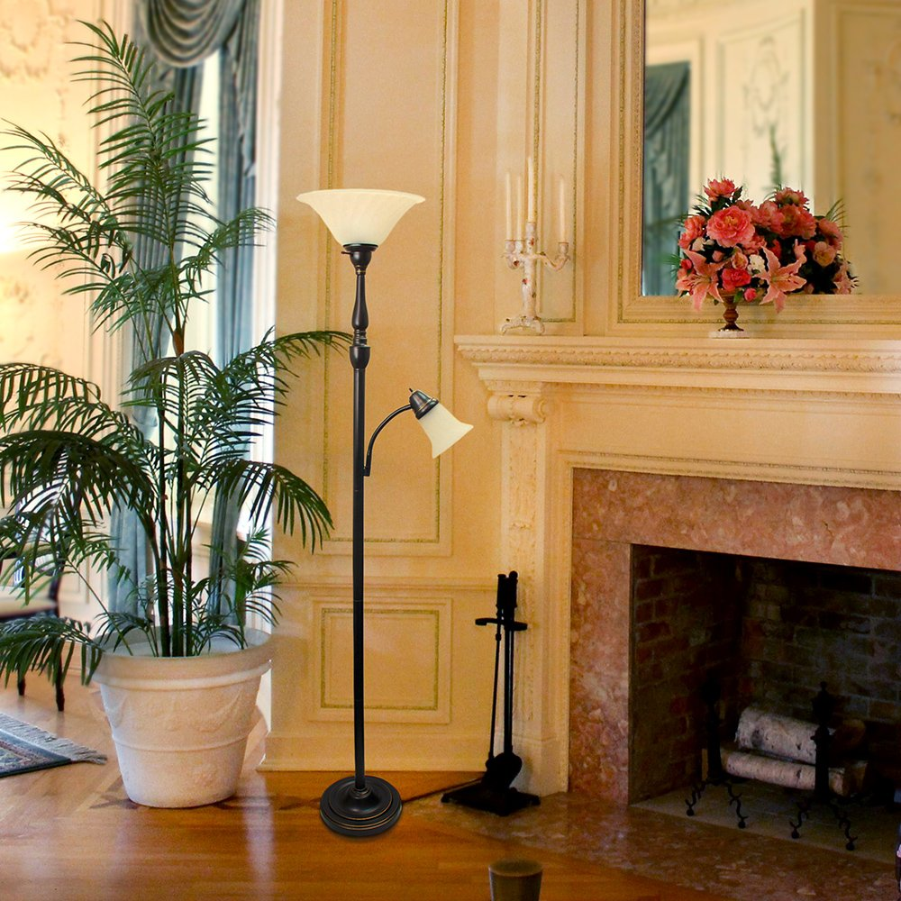 Elegant Designs LF2003-RBZ 2 Light Mother Daughter Floor Lamp with White Marble Glass,Restoration Bronze by Elegant Designs (Image #3)