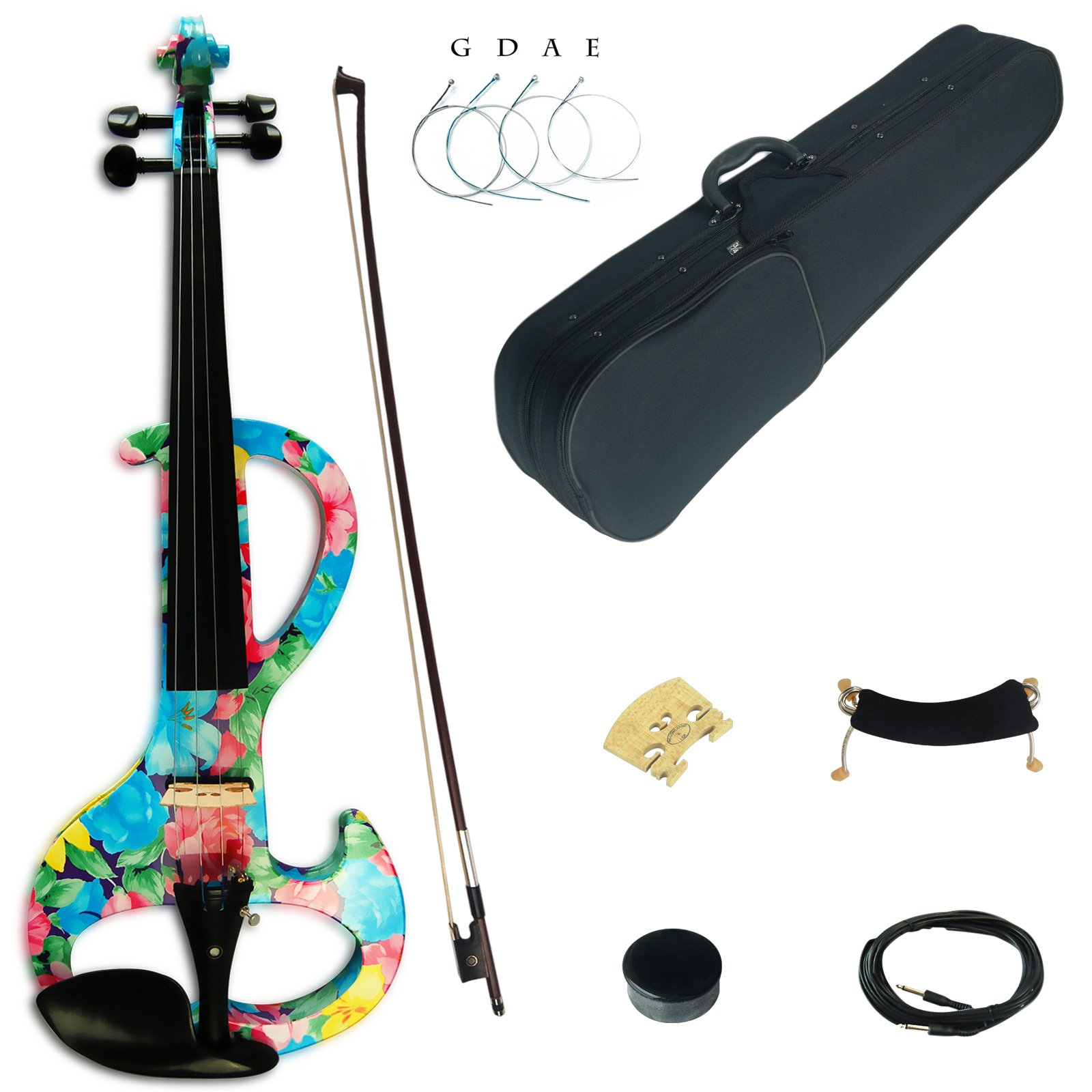 Kinglos 4/4 Blue Pink Flower Colored Solid Wood Intermediate-A Electric / Silent Violin Kit with Ebony Fittings Full Size (DSZA1002) by Kinglos