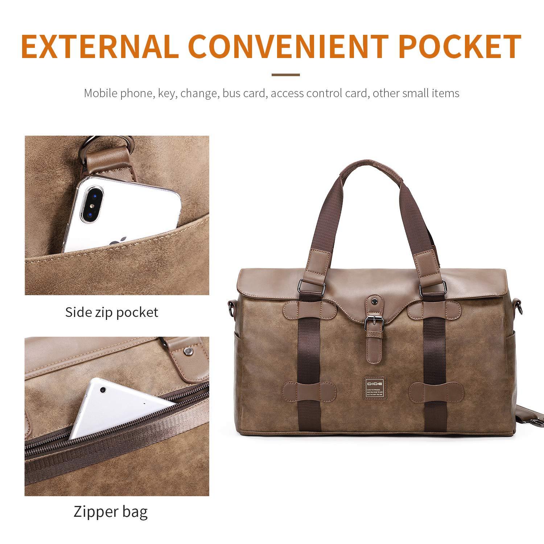 DiDe Travel Duffel Bags Waterproof Weekend Bag Weekender Carry On Hand Bag Khaki