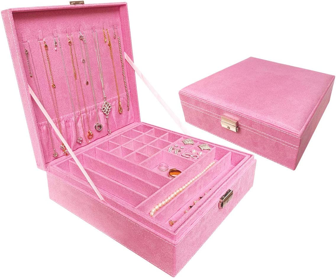 Ationgle 2-Layer Jewelry Organizer Box with Lock - 44 Compartments Suede Jewelry Box for Women for Girls for Ring Necklace Earring Ear Stud Bracelet Brooch, Pink