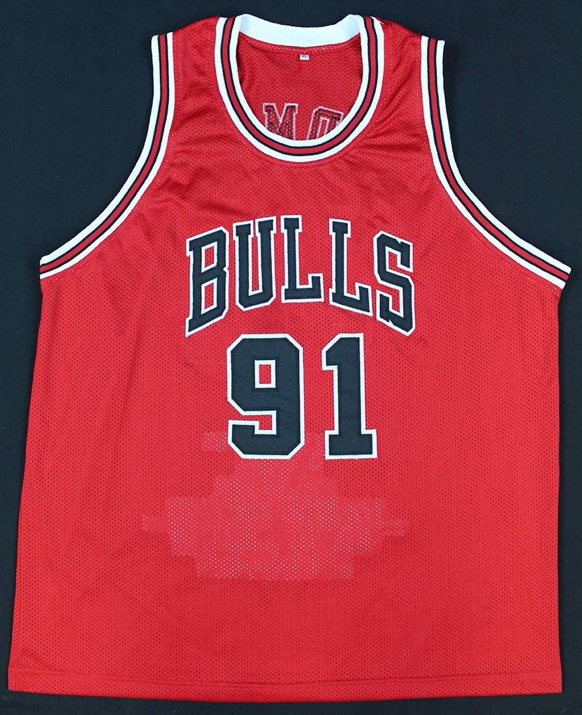 2878d8d74 Dennis Rodman Autographed Red Chicago Bulls Stat Jersey - Hand Signed By Dennis  Rodman and Certified Authentic by PSA - Includes Certificate of Authenticity