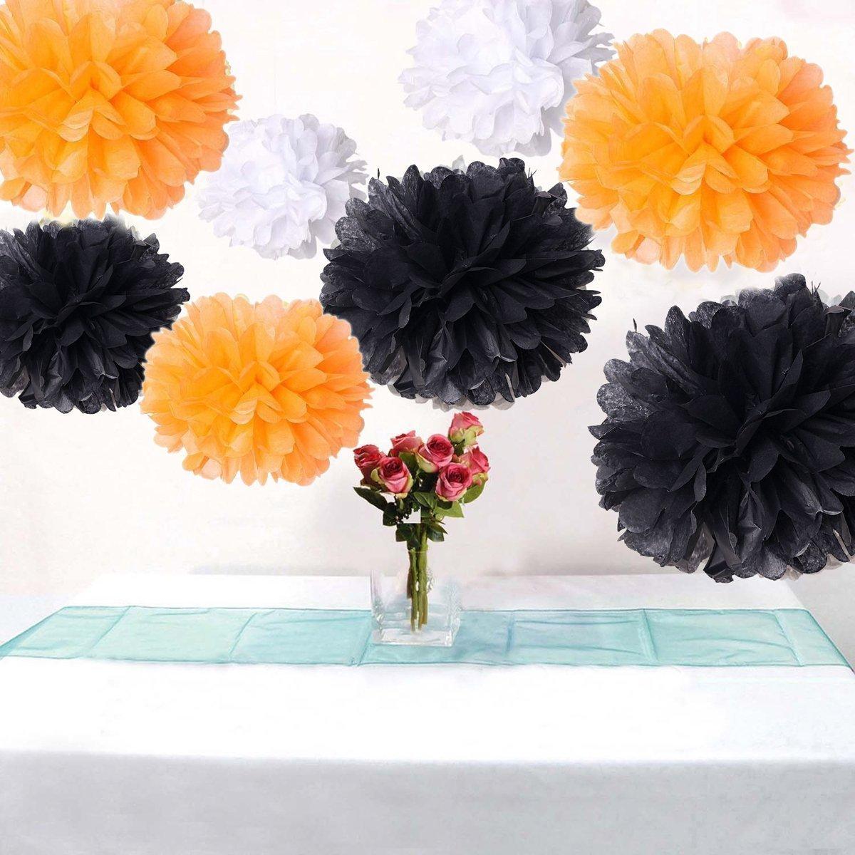 18PCS Mixed Orange Black White Tissue Paper Flower Pom Poms Pompoms Wedding Birthday Party Nursery Decoration dreammadestudio