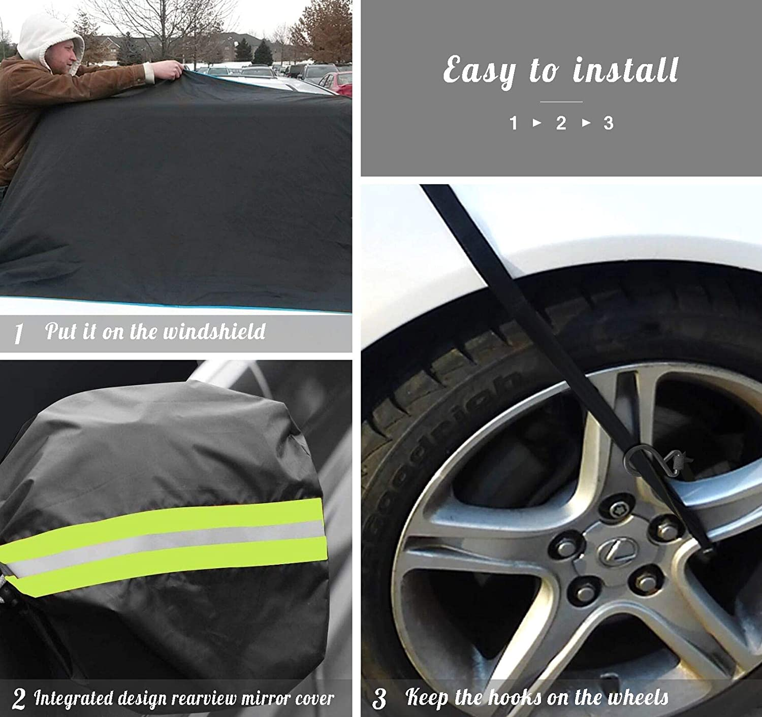 Large Size Windshield Cover for Ice and Snow Frost Guard Windshield Cover Perfect for Most Cars and SUV ilauke Windshield Snow Cover for Car All-weather Car Waterproof Insulation Windshield Cover
