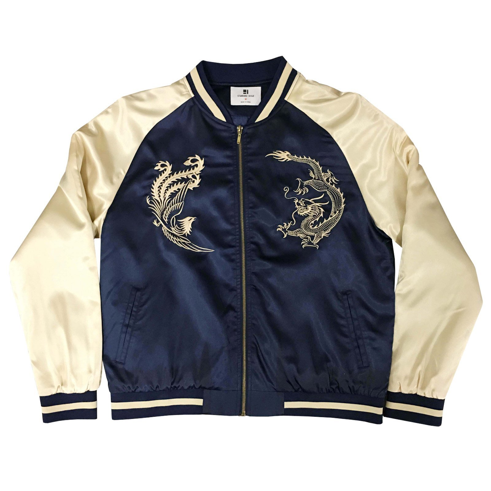 Standard Issue Embroidered Street Phoenix Dragon Souvenir Bomber Varsity Jacket - Navy/Gold by Standard Issue