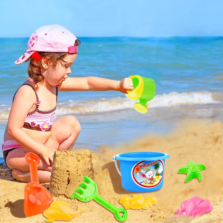 8 Piezas Conjunto de Juguetes Arena con Cubo de Arena Palas Rastrillo Herramientas para ni/ños Czemo Juguetes de Playa Conjunto