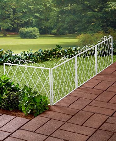 The Lakeside Collection Scrolled Metal Garden Fence White