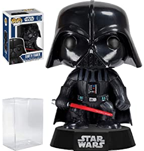 Funko Pop! Star Wars: Classic Darth Vader #01 Vinyl Bobble-Head Figure (Bundled with Pop BOX PROTECTOR CASE)