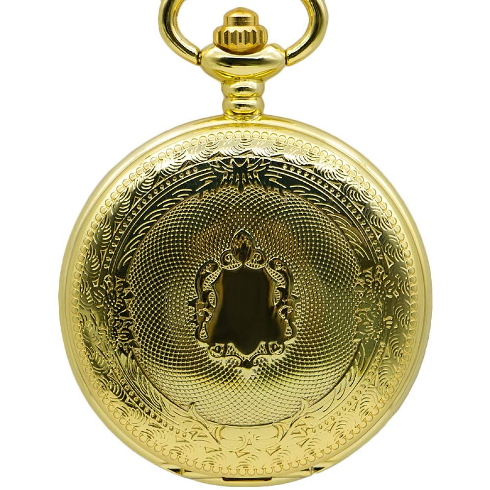DYH&PW Golden Shiled Design Skeleton Mechanical Hand Winding Pocket Watch for Men Women Gift with Fob Chain,A