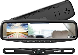 VECLESUS VT1 Backup Camera Kit System Car Licence Plate Backup Camera with 4.3'' Mirror Monitor, Night Vision Easy Installation Wired Rear View Camera for Cars Sedan SUV Pickup Truck Minivan