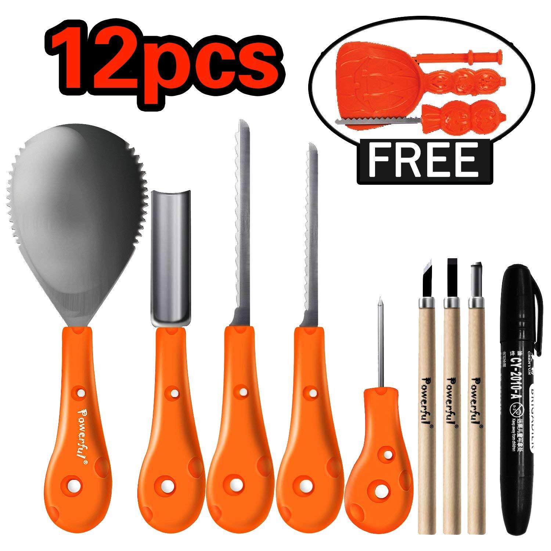 Powerful 12 PCS Most Useful Carving Essentials - Professional Pumpkin Carving Tools Kit Knife Set for Kids DIY Halloween Jack-o-Lantern Pumpkins Candles Decorations