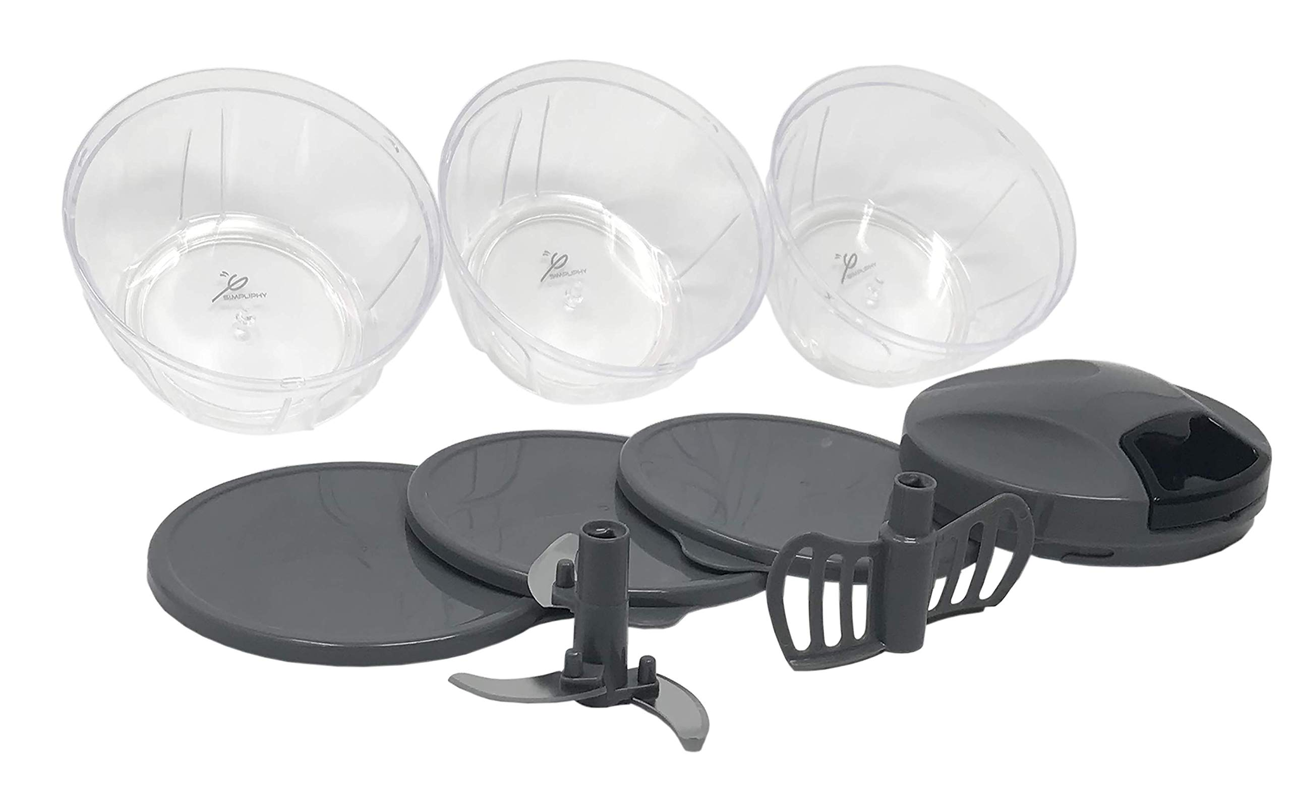 Tribowl Apache, Pull Cord Food Chopper Speedy Crank Chop with bowls, lids + blender attachment