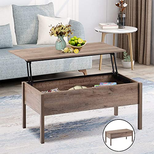 Lift Top Coffee Table with Storage Coffee Tables for Living Room Table with Hidden Storage Compartment and Lift Tabletop for Home Office Dorm Apartment Wood Cocktail Table, Oak