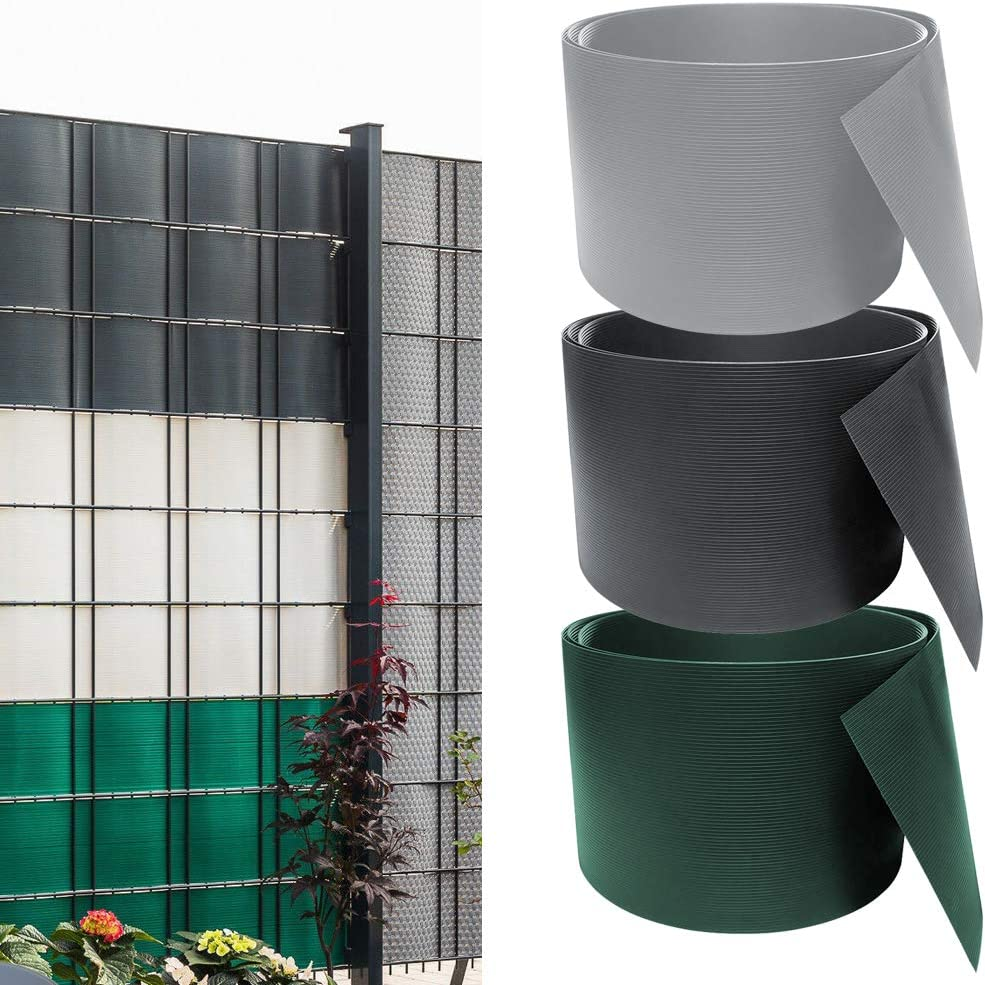 wolketon 10 Pezzi PVC paravista Verde Dimensioni per Pezzo Altezza 19 cm x Larghezza 252 cm PVC Protettivo per Giardino o Recinzione