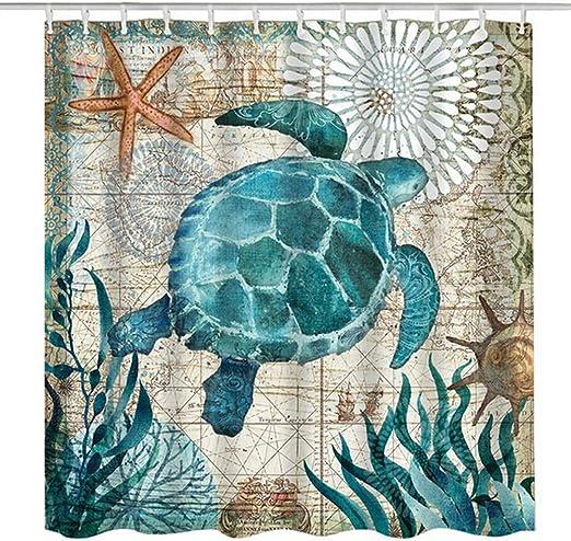 """Cute Animal Sea Turtle Shower Curtain Bathroom Waterproof Fabric /& Hooks 71*71/"""""""