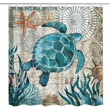 Urijk Sea Turtle Shower Curtain 71 X Mildew Proof Waterproof Washable