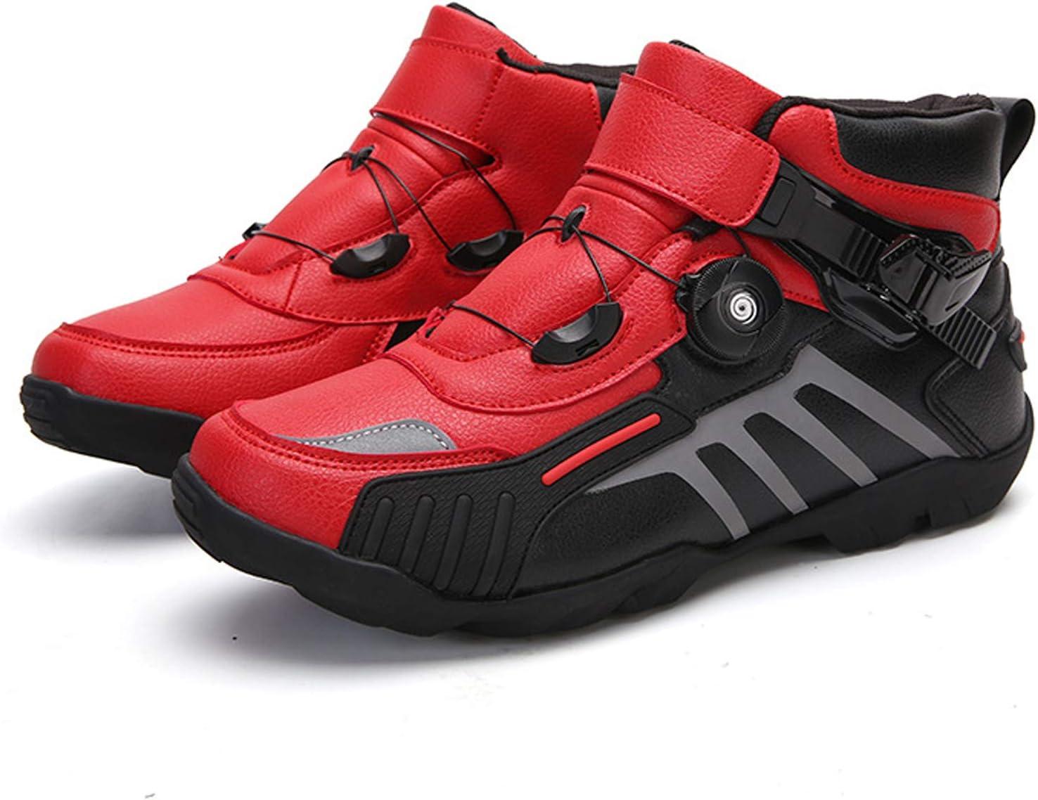 Motorradschuhe Herren Damen Motorrad Stiefel Rot Schwarz Motorrad Schuhe Sneaker Atmungsaktives Turnschuhe Enduro Racing Sport Gepanzert MRDEAR Motocross Kurze Ankle Stiefel mit Einstellknopf