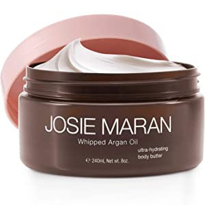 Josie Maran Whipped Argan Oil Body Butter - Immediate, Lightweight, and Long-Lasting Nourishment to Soften and Hydrate Skin (240ml/8.0oz, Vanilla Bean)