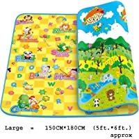Kidbee Baby's Double Sided Anti Skid Waterproof Crawl Mat Carpet (Color and Design May Vary,) (150x180 cm (5x6 ft.))
