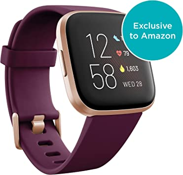 Fitbit Versa 2 Health & Fitness Smartwatch with Heart Rate, Music, Alexa Built-in, Sleep & Swim Tracking, Bordeaux/Copper Rose, One Size (S & L Bands ...