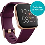 Fitbit FB507RGRW Versa 2 Health & Fitness Smartwatch with Heart Rate, Music, Alexa Built-in, Sleep & Swim Tracking, Bordeaux/Copper Rose, One Size (S & L Bands Included) (Bordeaux/Copper Rose)