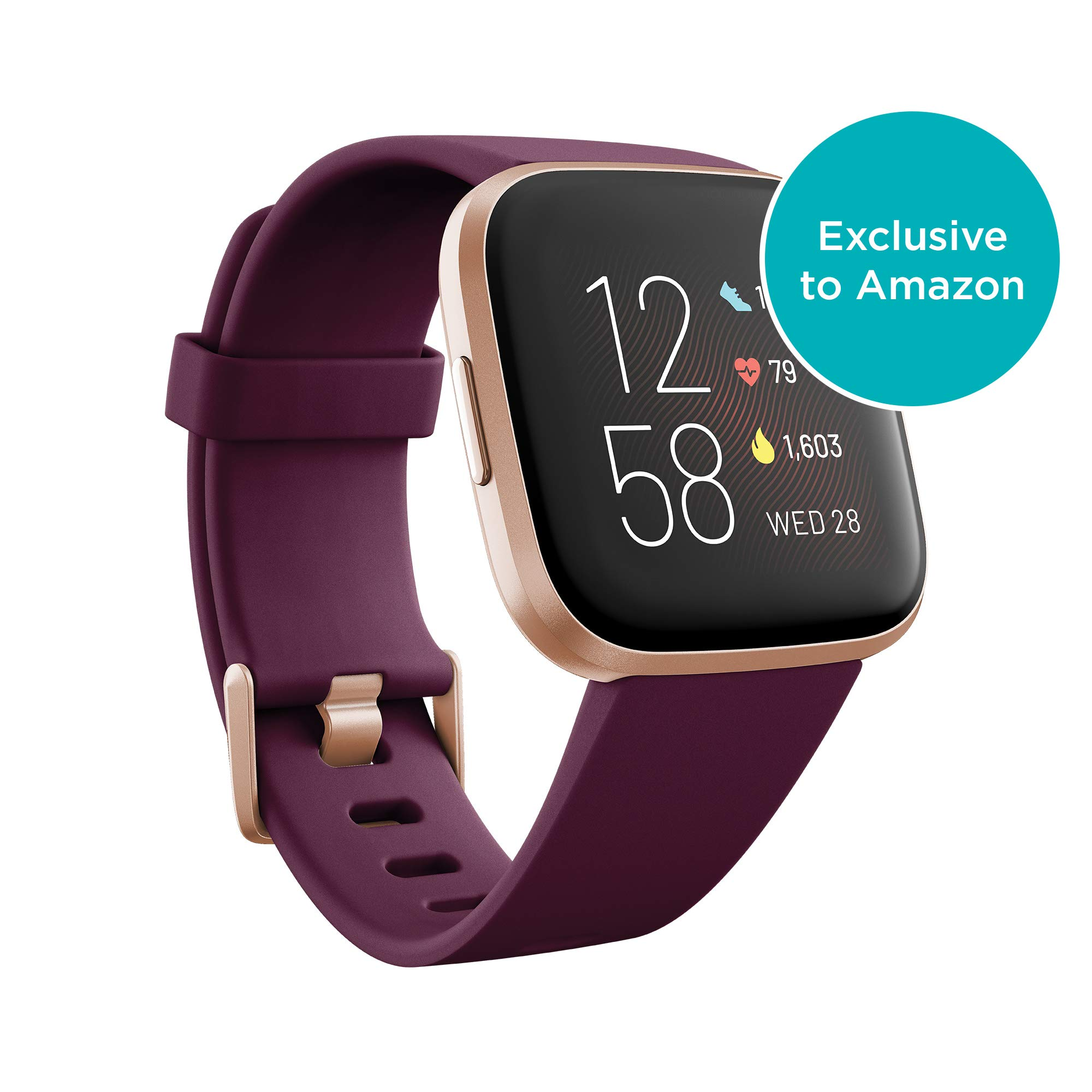 Fitbit Versa 2 Health & Fitness Smartwatch with Heart Rate, Music, Alexa Built-in, Sleep & Swim Tracking, Bordeaux/Copper Rose, One Size (S & L Bands Included) by Fitbit