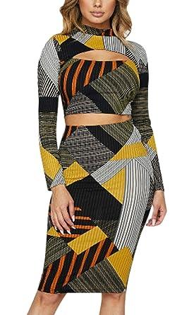 Mujer 2 Pedazos Set Crop Top Y Falda Elegantes Basic Vintage ...