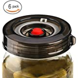 6-Pack Fermenting Lids Kit w/ Bonus Pump, galahome Waterless Airlock For Mason Jar Fermentation, Turn Wide Mouth Jars to Crock Pots, Black ( 2 Colors Available )
