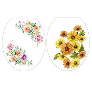 Woodland 2pcs Pink Bloosm Peony Floral and Yellow Sunflower Toilet Seat Cover Removable Vinyl Kitchen Stickers Decals Stickers for Children Room Bathroom Nursery