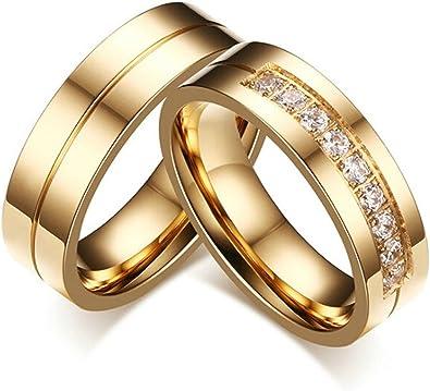Beydodo 1 PCS Edelstahl Ringe f/ür Ihn und Sie Hochglanzpoliert mit AAA Zirkonia Breite 6MM Ringe Paare Verlobung Gold