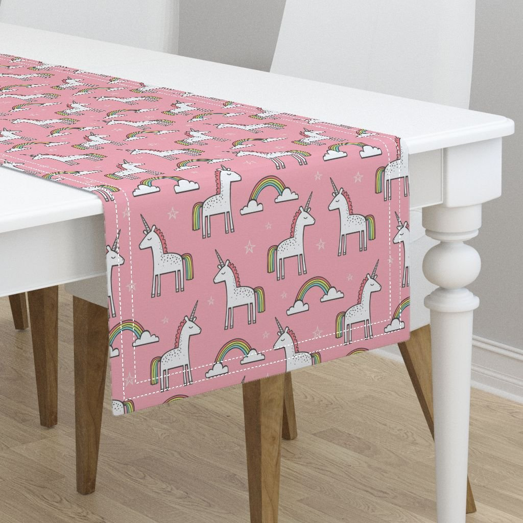 Table Runner - Unicorns Animals Scandinavian Dream Rainbow Unicorn Mythical by Caja Design - Cotton Sateen Table Runner 16 x 108